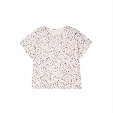 【80-150cm】TOPS 小花柄フレンチスリーブ コットンTシャツ