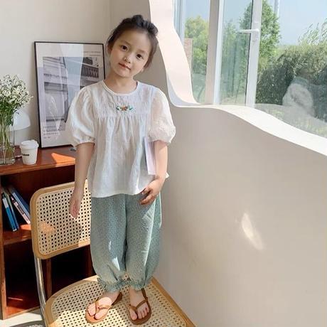 【90-150cm】PANTS 孔雀柄 裾ギャザー ロングパンツ