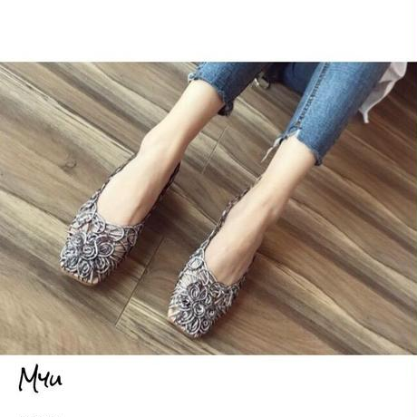 受注発注【Mom】Mesh flower flat shoes