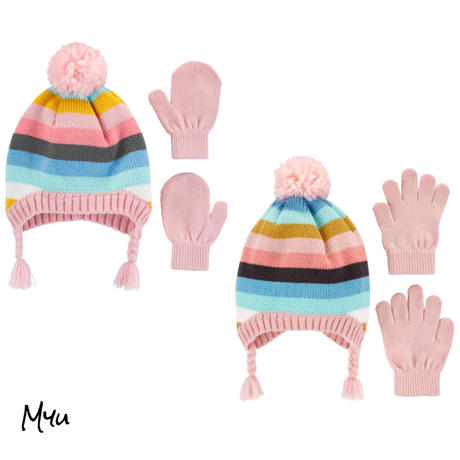 お急ぎ便対応 受注発注【Baby〜Kids】carter's 2-Piece border hat&mitten(glove)set