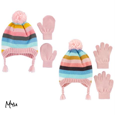 受注発注【Baby〜Kids】carter's 2-Piece border hat&mitten(glove)set