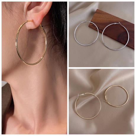 【JEWELRY】EARRINGS フープピアス6cm/S925 & ロジウムコーティング or K14ゴールドコーティング