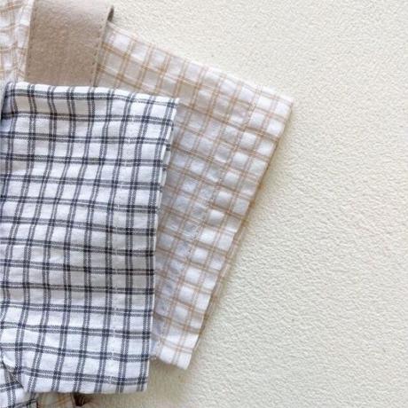 【66-100cm】SET UP ギンガムチェックTシャツ サスペンダー付きブルマ セット