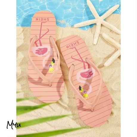 受注発注 Flamingo pattern toe post slippers