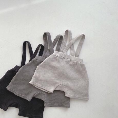 【66-90cm】PANTS サスペンダー付きワッフルショートパンツ