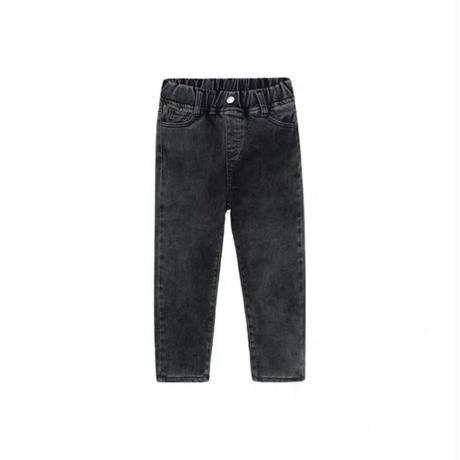 【80-150cm】JEANS  裏地フリース レオパードパッチ ストレートジーンズ