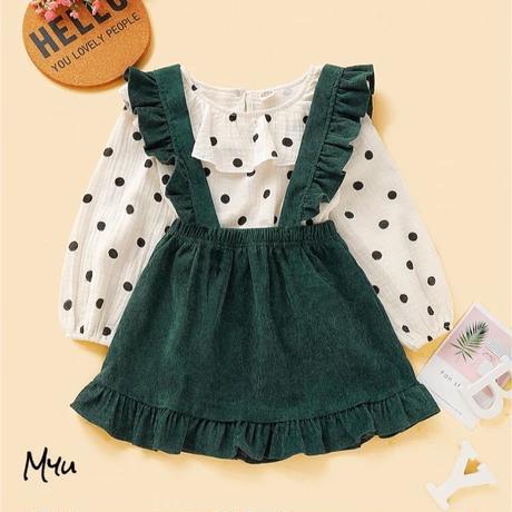 受注発注【80〜120cm】polka dot blouse & ruffle trim