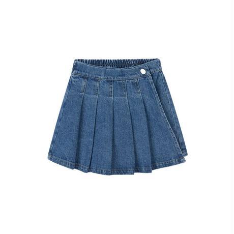 【80-150cm】PANTS デニムプリーツスカート風ショートパンツ