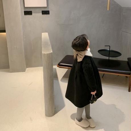 【80-150cm】COAT 裏地キルティング ボアカラー Aラインウールコート