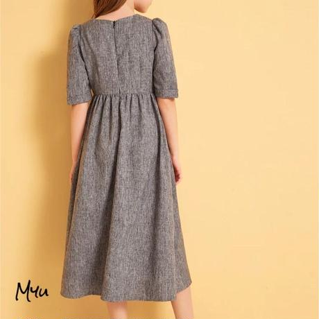 受注発注【親子 120〜160cm】Puff sleeve button up fit & flare dress