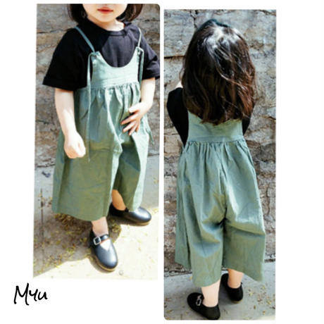 受注発注【80〜140cm】Wide  pants  all  in one