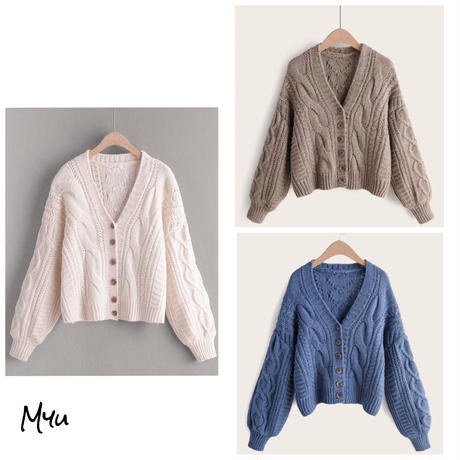 お急ぎ便対応 受注発注 【LADIES】Solid bishop sleeve cable knit cardigan
