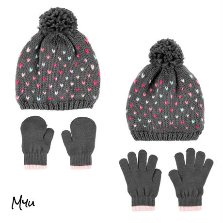 お急ぎ便対応 受注発注【Baby&Kids】2-Piece heart hat&mitten(glove)set