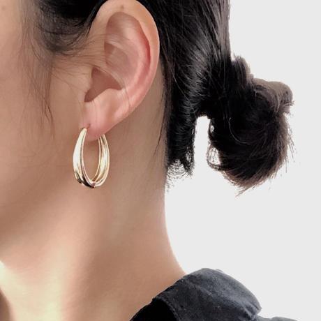 【JEWELRY】EARRINGS ドロップピアス大 3.2cm 14Kゴールドコーティング