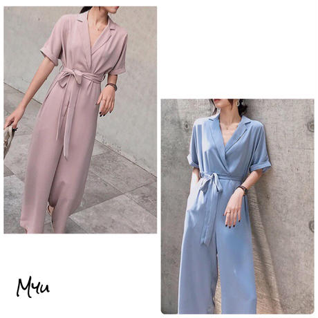 受注発注【Mom】Waist ribbon rompers