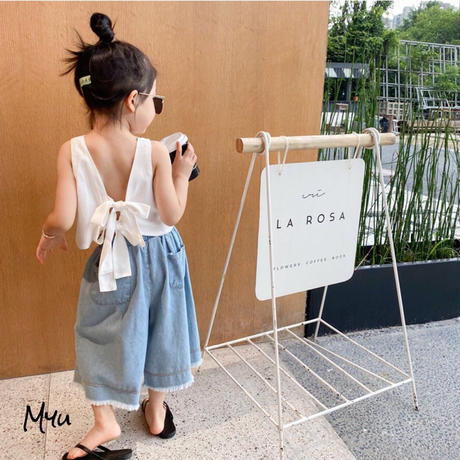 【90-140cm】Back Bow Solid Tank Top バックリボン 無地タンクトップ