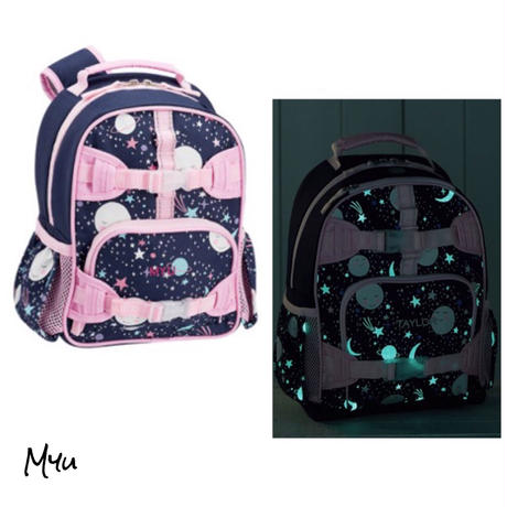 お急ぎ便対応pottery barn【Mini】Mackenzie Pink Navy Glow-in-the-Dark Moons Backpack