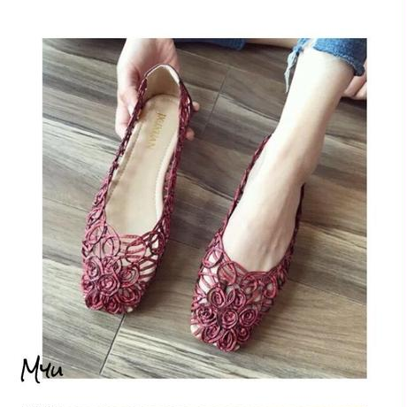受注発注🇰🇷【LADIES】Mesh flower flat shoes