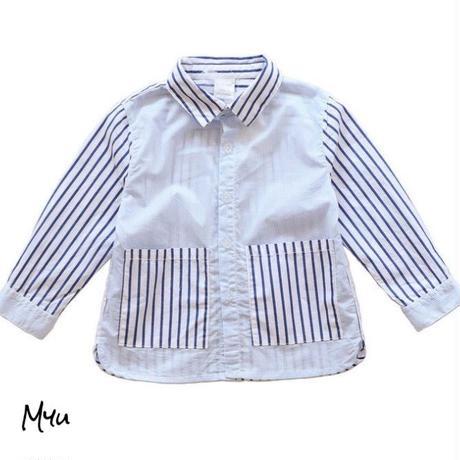 受注発注【80〜130cm】Design stripe shirt