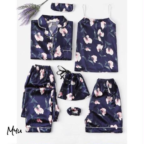 受注発注【Ladies】7pcs Floral print satin pajama set