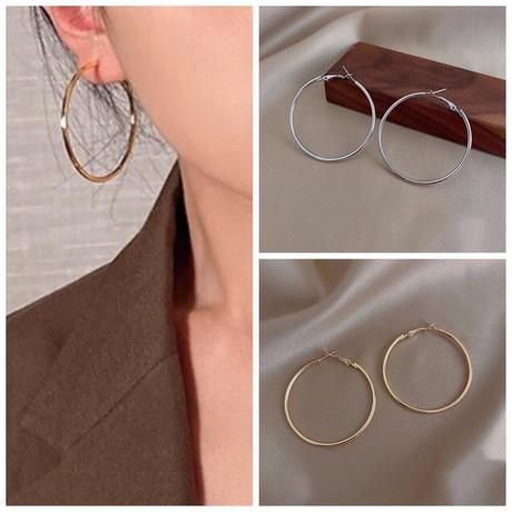 【JEWELRY】EARRINGS フープピアス5cm/S925 & ロジウムコーティング or 14Kゴールドコーティング