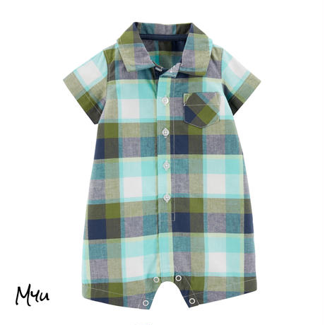 受注発注【70〜90cm】carter's Plaid button-front rompers