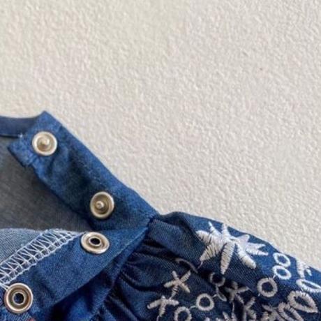 【66-100cm】ROMPERS 袖フリル刺繍 ロンパース