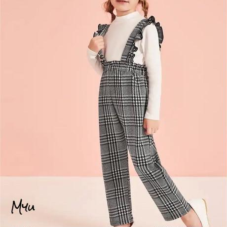 受注発注【90〜130cm】Houndstooth pants  with straps