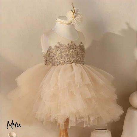 受注発注【80〜130cm】Flower tulle dress