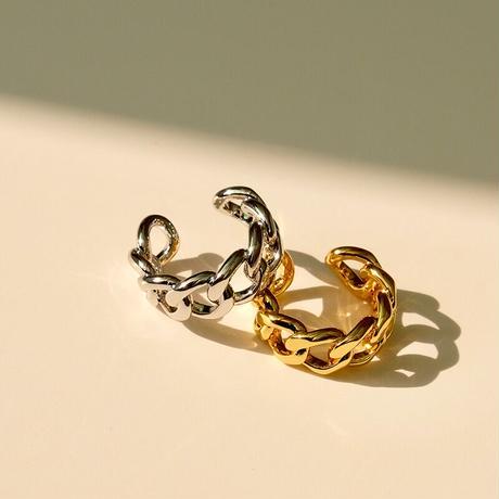 【JEWELRY】RING チェーンオープンリング/ ロジウムコーティング or K14ゴールドコーティング
