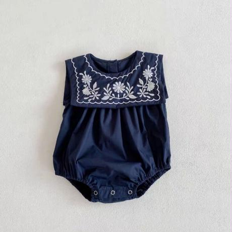 【66-100cm】ROMPERS セーラーカラー 刺繍ロンパース