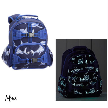 お急ぎ便対応pottery barn【Small】Mackenzie Blue Glow-in-the-Dark Shark Backpack