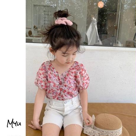 【90-150cm】Floral Drawstring Back Botton Puff Sleeve Tops 花柄 紐絞り 後ろボタン パフスリーブ トップス