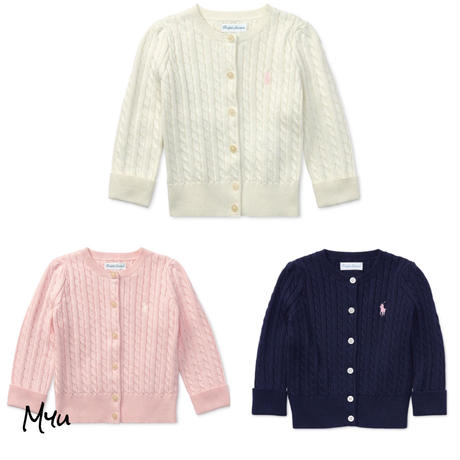 受注発注【50〜90cm】Polo Ralph Lauren Baby girl's cable cardigan
