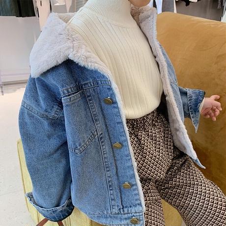 【90-130cm】JACKET 裏地フェイクファーデニムジャケット