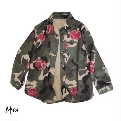 受注発注【90〜140cm】Army flower shirt