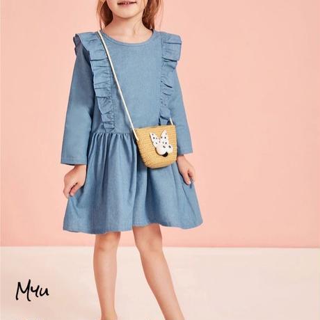 受注発注【90〜130】Frill trim smock dress