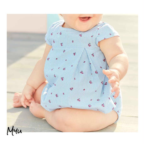 受注発注【70〜90cm】carter's Striped  flower sunsuit