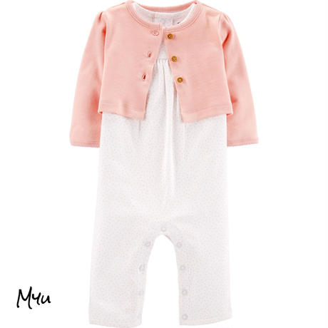 受注発注【50〜70cm】carter's 2-Piece jumpsuit&cardigan set