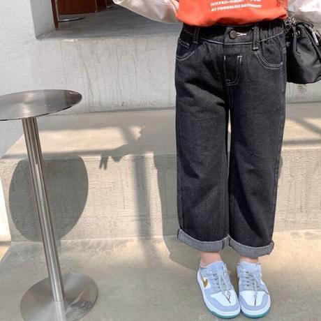 【80-150cm】JEANS ブラックコットンジーンズ
