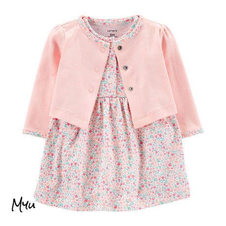 お急ぎ便対応 受注発注【50〜80cm】carter's 2-piece floral bodysuit dress&cardigan set