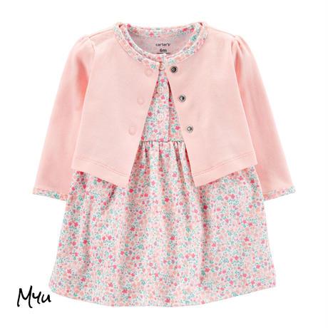 受注発注【50〜80cm】carter's 2-piece floral bodysuit dress&cardigan set