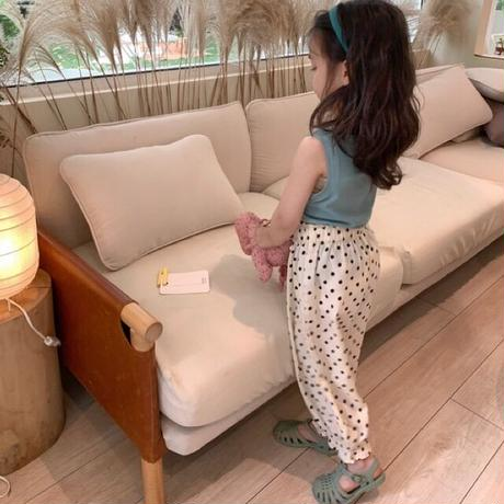 【80-150cm】PANTS ドット柄 裾ギャザー ロングパンツ