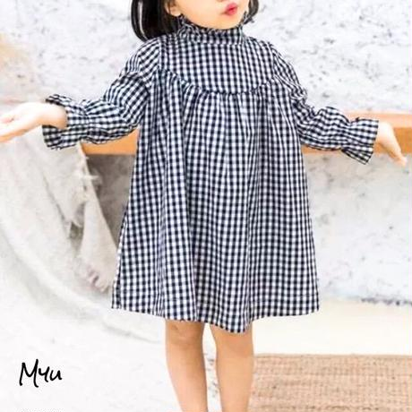 受注発注【90〜130cm】Knit cardigan×Gimgam check dress