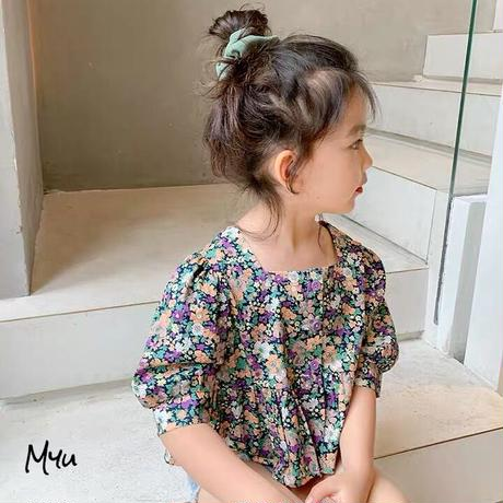 【90-150cm】Floral Square Neck Puff Sleeve Peplum Blouse 花柄スクエアネックパフスリーブペプラムブラウス