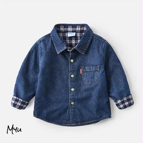 受注発注🇰🇷【90〜130cm】Denim check shirt