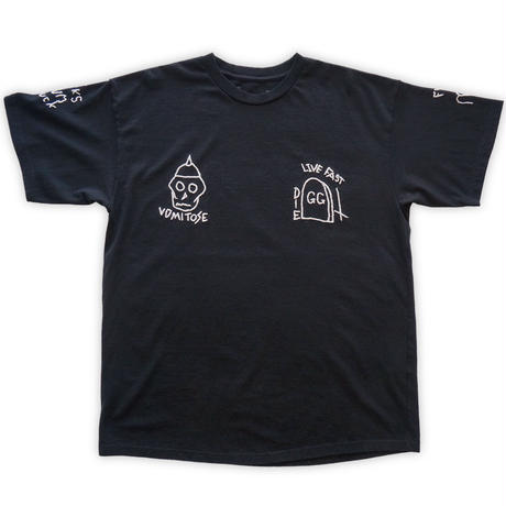 【SALE】Hand-embroidery tee / Blk