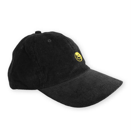 Smile embroidery Corduroy cap / Black