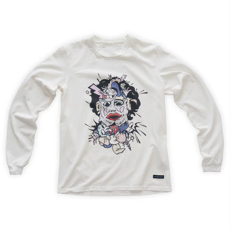 Cartoon chainsaw massacre Long-sleeve tee  / Wht