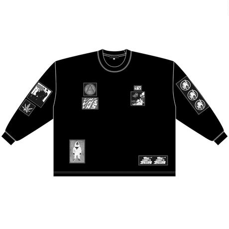 Silk print pach Long sleeve tee / Black